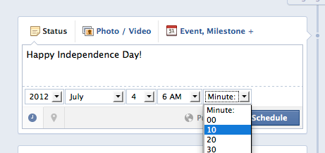 New feature: Schedule your Facebook Status Updates